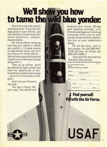"1973 Air Force US Military Recruitment Ad ""Jet""-Original-Stills Of Time"