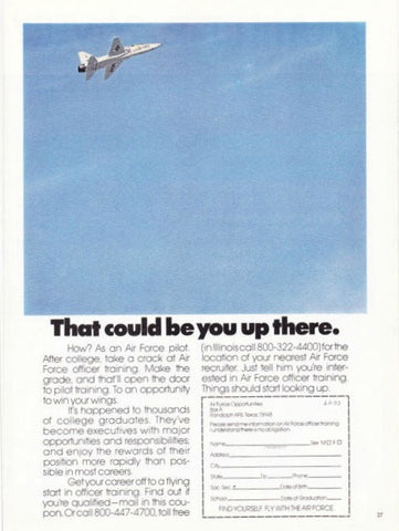"1973 Air Force US Military Recruitment Ad ""F14 Fighter Jet""-Original-Stills Of Time"