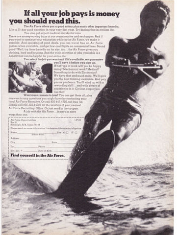 "1973 Air Force US Military Recruitment Ad ""Water Ski""-Original-Stills Of Time"