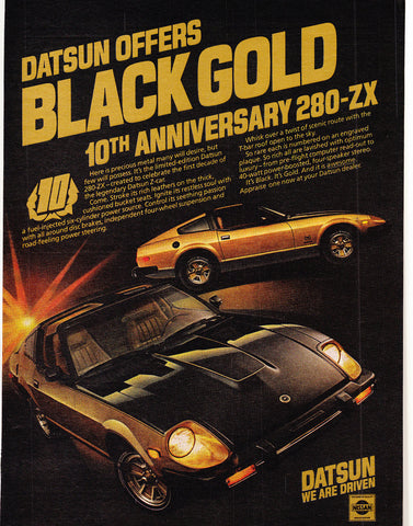"1980 Datsun 280-ZX Car Ad ""10th Annivesary""-Original-Stills Of Time"