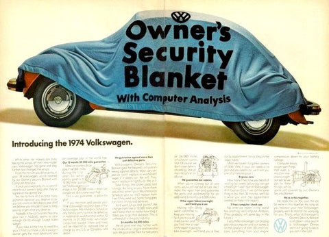 "1974 Volkswagen Beetle Ad ""Security Blanket""-Original-Stills Of Time"