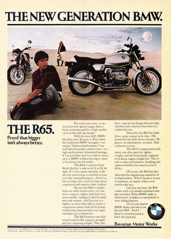 "1979 BMW R65 Motorcycle Ad ""New Generation""-Original-Stills Of Time"