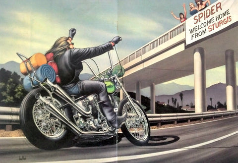 "David Mann Motorcycle Art Print ""Welcome Home""-Original-Stills Of Time"