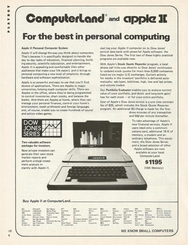 "1978 Computerland Computer Ad ""Apple II: Dow Jones""-Original-Stills Of Time"