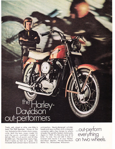 1969 Harley Davidson Sportster Motorcycle Ad-Original-Stills Of Time