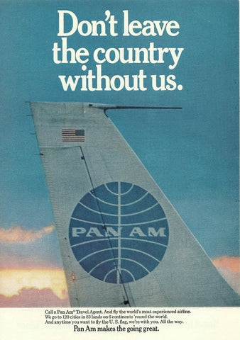 "1968 PAN AM Airlines Airplane Ad ""Tail""-Original-Stills Of Time"