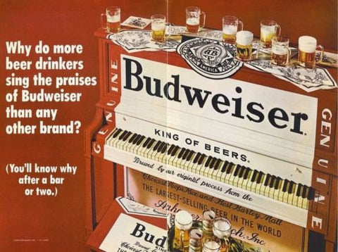 "1970 Budweiser Beer Ad ""Piano""-Original-Stills Of Time"
