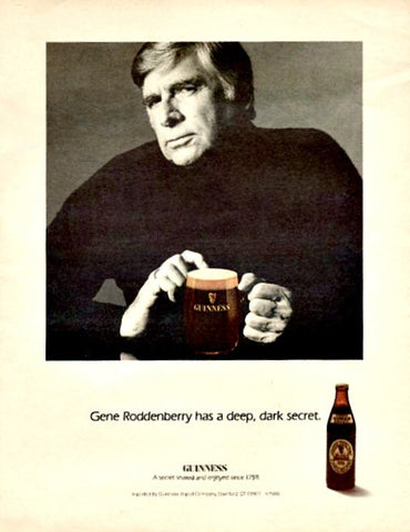 "1985 Guinness Beer Ad ""Gene Roddenberry""-Original-Stills Of Time"
