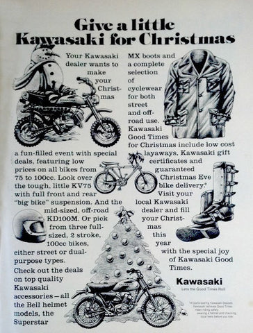"1976 Kawasaki Motorcycle Ad ""Christmas Gift""-Original-Stills Of Time"
