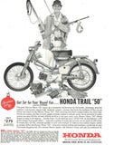 "1962 HONDA 50 Motorcycle Ad ""Man: Hunting & Fishing""-Original-Stills Of Time"