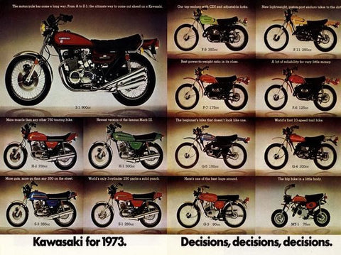 "1973 KAWASAKI Z-1 Motorcycle Ad "" Decisions""-Original-Stills Of Time"