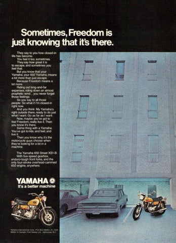 "1971 Yamaha 650 Street Motorcycle Ad ""Freedom""-Original-Stills Of Time"