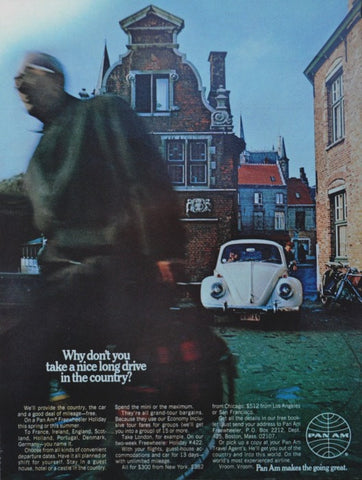 "1969 Pan American Airlines Ad ""VW Beetle""-Original-Stills Of Time"