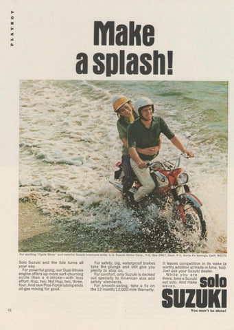 "1967 Suzuki Solo Motorcycle Ad ""Splash""-Original-Stills Of Time"