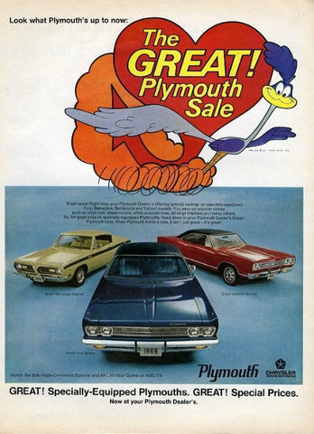 "1969 Plymouth Cars Ad ""Sale""-Original-Stills Of Time"