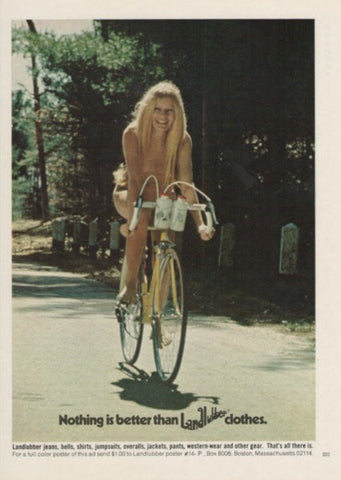"1972 Landlubber Fashion Ad ""Nude Girl Bicycle""-Original-Stills Of Time"