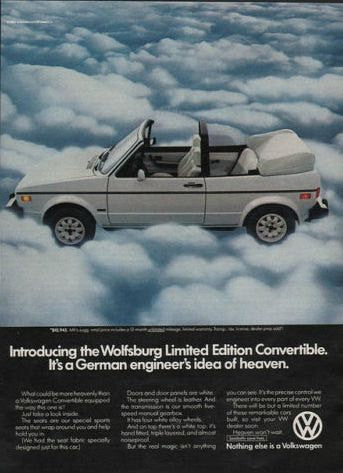 "1983 VW Wolfsburg Convertible Car Ad ""Heaven""-Original-Stills Of Time"
