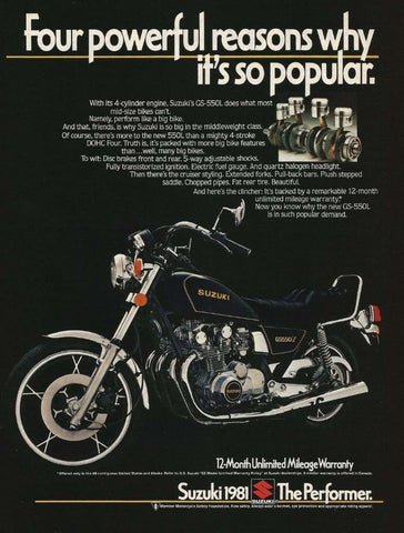 "1981 SUZUKI GS-550L Motorcycle Ad ""Powerful""-Original-Stills Of Time"