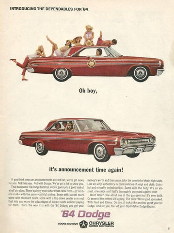 "1964 Dodge Hardtop Red Car Ad ""Dependable""-Original-Stills Of Time"