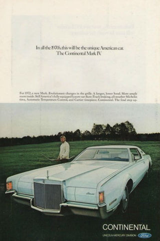 1972 Lincoln Continental Mark IV Car Ad-Original-Stills Of Time
