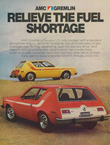 "1974 AMC Gremlin Car Ad ""Fuel Shortage""-Original-Stills Of Time"