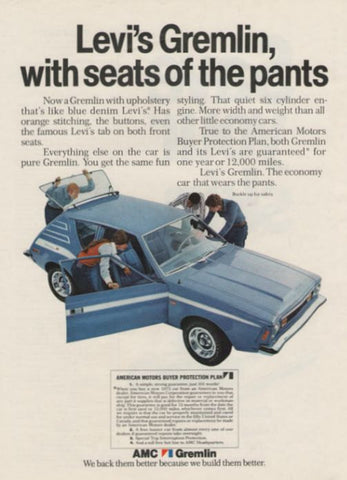 "1972 AMC Gremlin Blue Car Ad ""Levi's Pants""-Original-Stills Of Time"