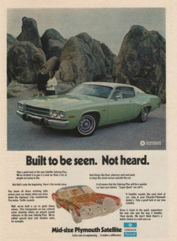 1973 Plymouth Satellite Sebring Car Ad-Original-Stills Of Time