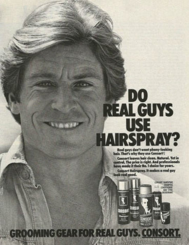 "1984 Consort Hair Styling Ad ""Real Guys""-Original-Stills Of Time"