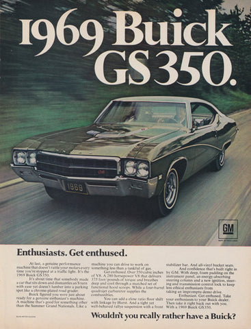 "1969 Buick GS350 Classic Car Ad ""Enthusiasts""-Original-Stills Of Time"