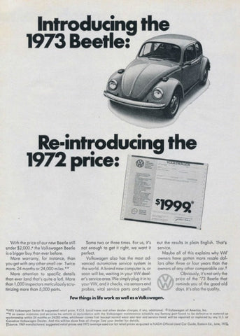 "1973 Volkswagen Beetle Ad ""Reintroducing""-Original-Stills Of Time"