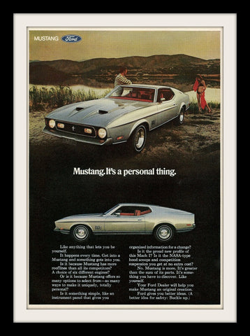 "1971 Ford Mustang Mach 1 Car Ad ""Personal""-Original-Stills Of Time"