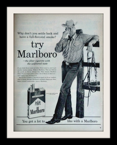 "1960 Marlboro Cigarette Ad ""Cowboy Man""-Original-Stills Of Time"