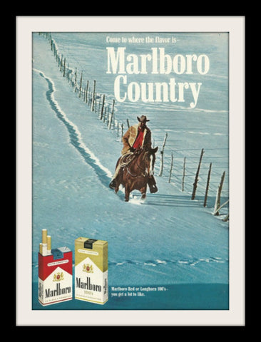"1969 Marlboro Cigarette Ad ""Snow Horse""-Original-Stills Of Time"