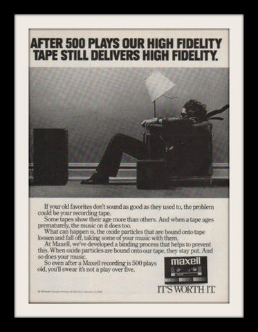"1983 Maxell Audio Cassette Tape Ad ""Blown Away""-Original-Stills Of Time"