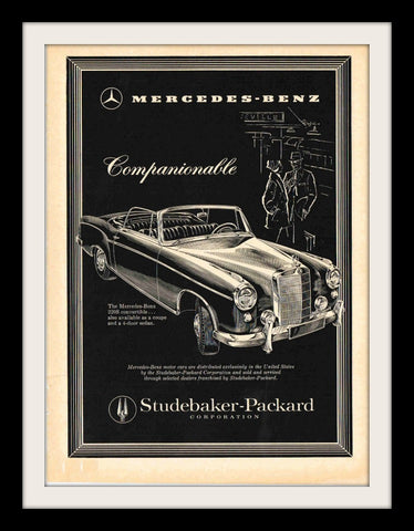 "1958 Mercedes Benz 220S Car Ad ""Companionable""-Original-Stills Of Time"