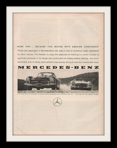1960 Mercedes Benz 300SL Car Ad-Original-Stills Of Time