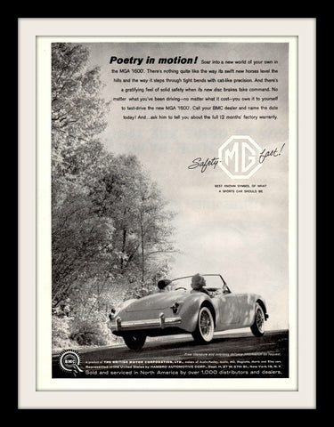 "1960 MGA 1600 Convertible Car Ad ""Poetry""-Original-Stills Of Time"
