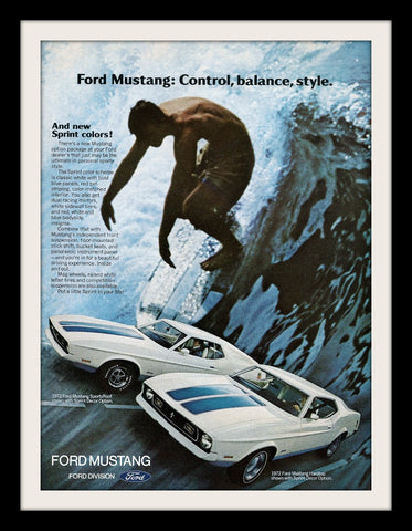 "1972 Ford Mustang Car Ad ""Surf Waves""-Original-Stills Of Time"