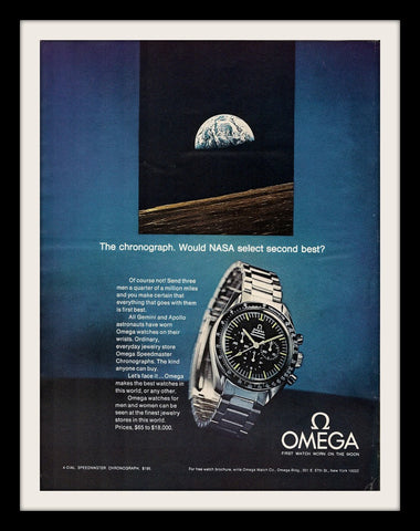 "1970 OMEGA Chronograph Watch Ad ""NASA""-Original-Stills Of Time"