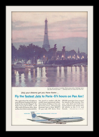 "1960 PAN AM Airlines Ad 'Eiffel Tower Paris""-Original-Stills Of Time"