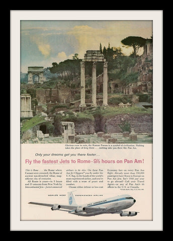 "1960 PAN AM Airline Ad ""Roman Forum""-Original-Stills Of Time"