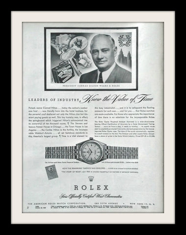 "1950 Rolex Oyster Watch Ad ""Hilton""-Original-Stills Of Time"