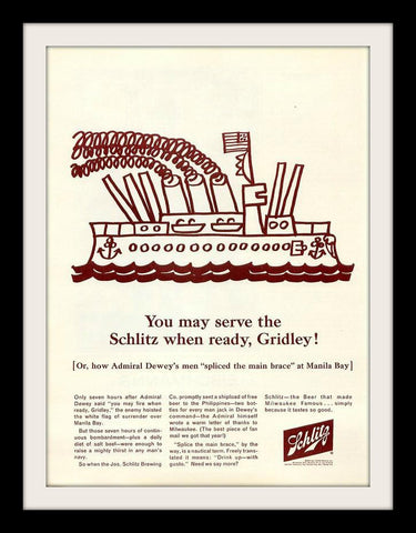 "1964 Schlitz Beer Ad ""Navy: USS Gridley Ship""-Original-Stills Of Time"