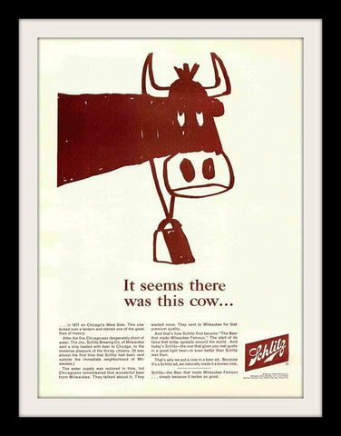 "1964 Schlitz Beer Ad ""Cow: Chicago""-Original-Stills Of Time"
