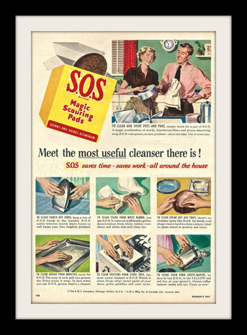 "1950 S.O.S Cleanser Ad ""Husband & Wife""-Original-Stills Of Time"