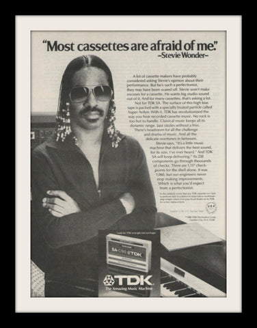 "1980 TDK Audio Cassette Ad ""Stevie Wonder: Afraid""-Original-Stills Of Time"
