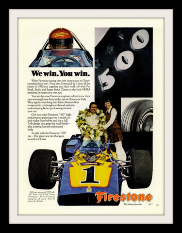 "1971 Firestone Car Tires Ad ""Race: Al Unser""-Original-Stills Of Time"