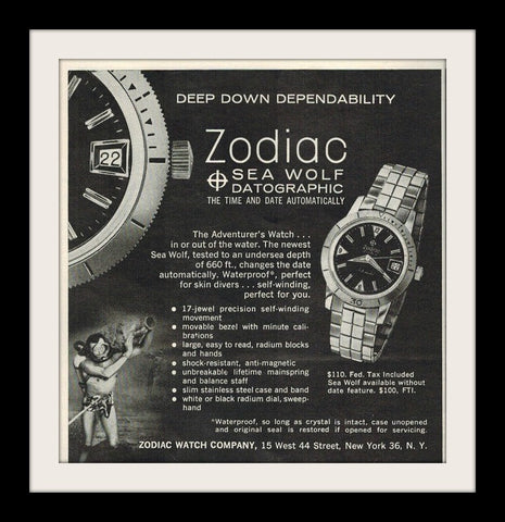 1962 Zodiac Sea Wolf Datographic Watch Ad-Original-Stills Of Time