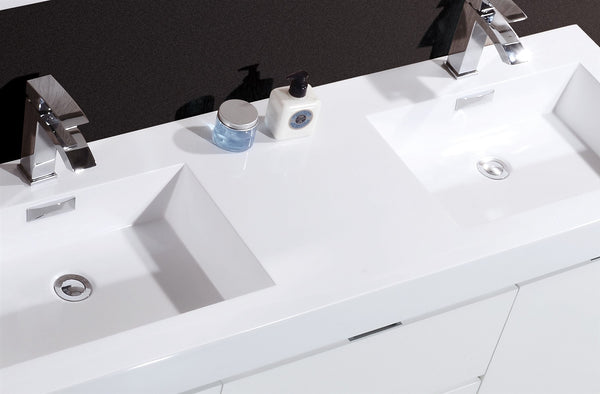 "Bliss 60"" Double Sink Wall Mount Bathroom Vanity by KubeBath"