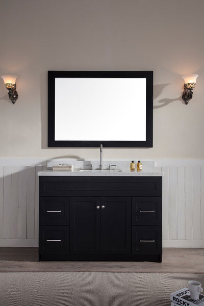 "Ariel Hamlet 49"" Single Sink Vanity Set - Black Granite or White Quartz Countertop"